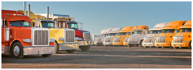 Two rows of semi trucks varying in color