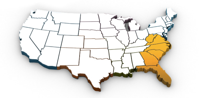 US map with south eastern region highlighted