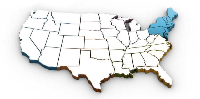 US map with north eastern region highlighted