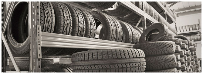 Racks full of tires