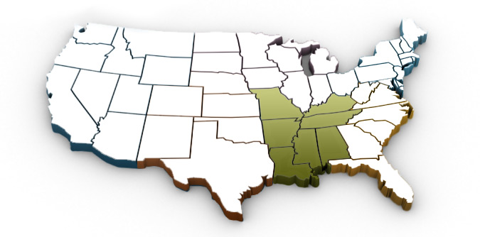 US map with south central region highlighted